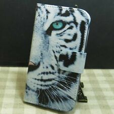 Fly Butterfly Tiger Cat Girl Wallet Holder Magnetic Flip case cover for Samsung