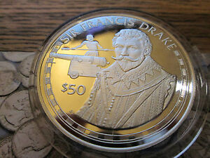 Cook Islands 1988 $50 Dollars Coin .925 Silver Proof SIR FRANCIS DRAKE
