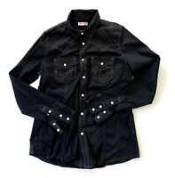 True Religion Pearl Snap Button Down Western Solid Black Shirt Women's Large