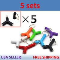5X 3.5mm AUX Audio Splitter Cable Earphone Headphone Adapter 1 Male To 2 Female