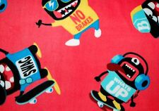"""MONSTERS ON SKATEBOARDS WITHOUT BRAKES ON TANGERINE FLEECE FABRIC 2 YDS 60X72"""""""