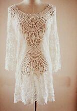 Lace♡Sexy Crochet♡Celebrity Style♡White Sexy Dress♡Beach Dress♡Tunic. NEW S