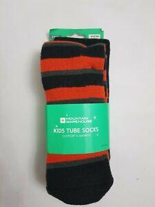 Mountain Warehouse Kid Ski Boot Snow Tube Socks Striped Plain One Size two paars