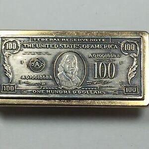 Vintage Anson Money Clip $100 Hundred Dollar Bill Gold Silver Toned
