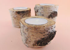 HANDMADE BIRCH Tree Branch Candle Holders Set Of 3, Rustic Home, Wooden Tealight