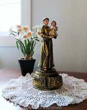 "10.25""H ST. ANTHONY STATUE Prayer Rosary Box GILDED GOLD HIGHLIGHTS ~ Nice!"