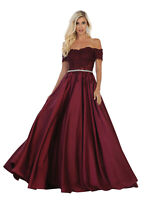 FORMAL SPECIAL OCCASION OFF-SHOULDER PROM DRESS RED CARPET PAGEANT EVENING GOWN