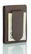 Leather Bifold Slim ID Card Holder Front Pocket Brown Men's Money Clip Wallet