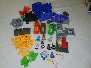 Huge BATMAN Fisher Price TRIO Click Brick Block Building Toy  LOT With 8 FIGURES