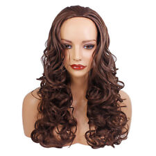 "22"" Ladies 3/4 WIG Half Fall Clip In Hair CURLY Chocolate Brown #8"