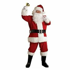 NEW MENS 8 PIECE DELUXE SANTA CLAUS FATHER CHRISTMAS OUTFIT FANCY DRESS COSTUME