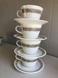 PYREX WOODLAND BROWN MILK GLASS CUPS & MATCHING CORELLE SAUCERS*
