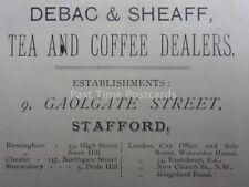 Stafford DEBAC & SHEAFF Tea and Coffee Dealers 9 Gaolgate St 1886 Antique Advert