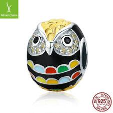 Genuine 925 Sterling Silver & Gold Enamesl Animal Owl Charm Beads fit Bracelets