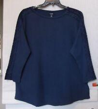 Chaps Size 3X Denim blue knit top, 3/4 sleeve with lace trim details, NWT