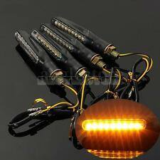4x BLACK UNIVERSAL MOTORCYCLE BIKE LED TURN SIGNAL INDICATOR LIGHT BLINKER AMBER