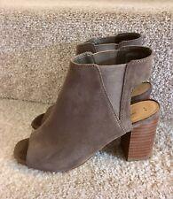 Stunning New Look Size 4 Khaki Leather Ankle Boot Peep Toe Women's Block Heels