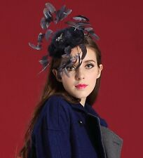 EXQUISITE HANDMADE DARK GREY FAUX FUR FASCINATOR WITH LONG BLACK FEATHERS