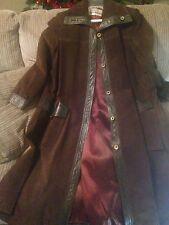 ~tav~ Brown Leather Trench Coat ~ Boho Vintage Firefly Steampunk ~ Med M Small S