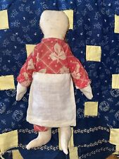 Antique American Pencil Face Floss Stitched Hair Cloth Rag Doll