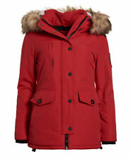 New Womens Superdry Everest Parka Red