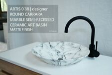 CARRARA Round Marble Semi Recessed Counter Top Vessel Bowl Art Basin Sink
