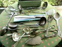 NICE Mixed Vintage Lot 18 Pieces Silverplate & Stainless Large Serving Utensils