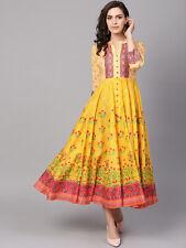Mandarin Collar Women kurti Yellow Printed Midi A-Line Pakisatani Dress