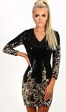 Black Gold Sequin 3/4 Sleeve Bodycon Dress, size S/M / UK 8 / US 4