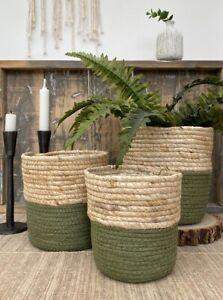 Rustic Basket Planter Green Woven Lined Plant Pot Herb Flower Storage Holder