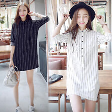 Korean Women Striped Button Down Loose Slim Career Top Blouse Shirt Shift  Dress