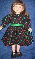 "Doggie Paws Christmas/Winter Dress with Ribbon & Purse -Fits 23"" My Twinn  Doll"