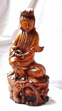 ANTIQUE 19c CHINESE PEAR WOOD CARVED STATUE OF QUAN-YIN SEATED ON DRAGON& LOTUS.