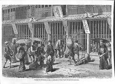 JAPON NIPPON YEDO BOUTIQUE PHARMACIEN JARDIN GRAVURE ENGRAVING 1868