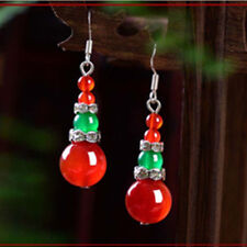 Wonderful Nature 4/6/10mm red green gemstone bead Dangle Silver Earrings JE298