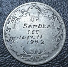 "1942 LOVE TOKEN ""SANDRA LEE JULY, 17 1942"" Canada 25¢ Silver 1920-1936 - Nice"