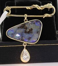 STUNNING 14K YELLOW GOLD BROOCH WITH 3.90 CTW OPAL AND DIAMOND! 8.9 GRAMS #D27