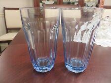 "2 Pasabahce Baroque Paneled Optic 5 3/8"" Sapphire Blue Glass Tumblers Turkey"