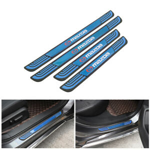 4PCS Blue Rubber Car Door Scuff Sill Cover Panel Step Protector For Mazda