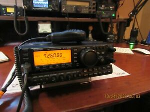 YAESU FT-900 AT HF TRANSCIEVER HAND MIC AND POWER CORD  WEATHER PROOF CASE