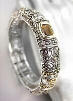 GORGEOUS Designer BALINESE Silver Gold Smoky Brown Topaz Crystals Bracelet