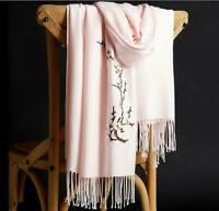 Grande Écharpe-Châle-Foulard,100%Cachemire,Vieux-Rose,Broderie,Cadeau Femme,Mode