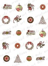 20 CHRISTMAS NAIL DECALS * VERY VINTAGE CHRISTMAS *  WATER SLIDE NAIL DECALS
