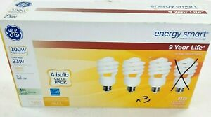 GE 3 PK- 23W Energy Smart  Bulb 100W replacement CFL 1600 Lumens Instant On new