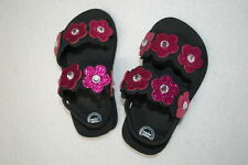 Baby Toddler Girls Sandals Black Flip Flops w/ Pink Flowers Ankle Strap L 9-10