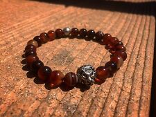 Mens Fashion Bead Bracelet High Quality Red Tiger Eye Lion Head Luxury