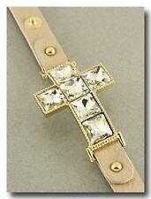 Beautiful Large Crystal Sparkle Bracelet on Beige Shimmer Leather Band