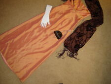 Victorian Edwardian Emma costume S M  ballgown dress peach taffeta stole bag