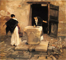 Beautiful Oil painting Venetian Water Carriers young women canvas