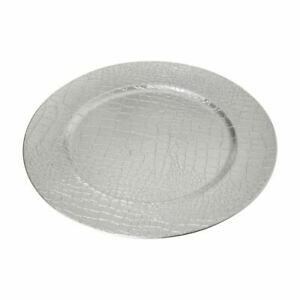 Charger Plate, PP - Polypropylene, Silver Crocodile Effect